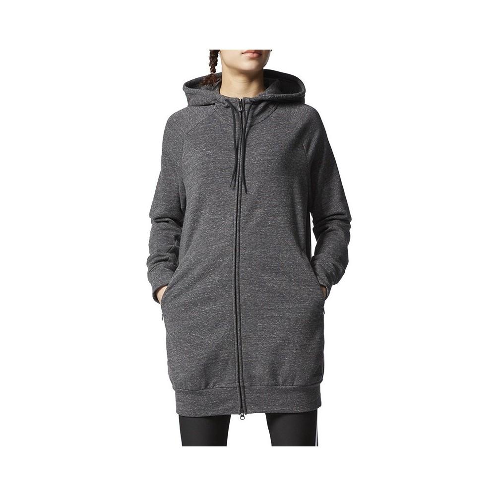 pas cher à vendre artisanat exquis design élégant Détails sur Sweat Long Zippé Gris Femme Adidas Gris