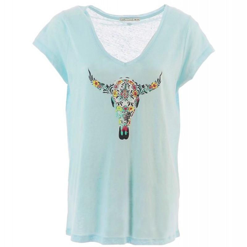 Femme Tee Tibi shirt Bleu Lin TwOXklPZiu