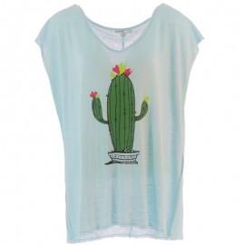 Tisco Lin Femme Tee-shirt Bleu