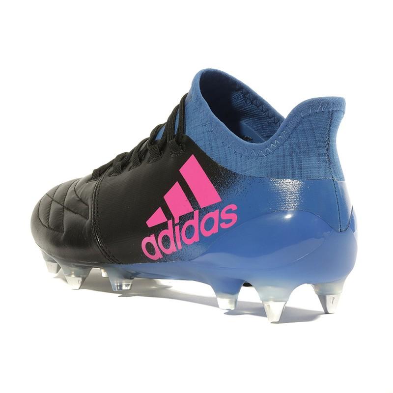 X 16.1 Leather SG Homme Chaussures Football Noir Bleu