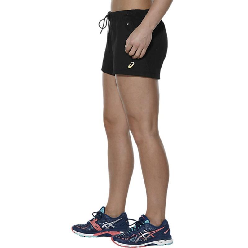 Asics Short Fleece Fitness Noir Femme EDH9WYIe2