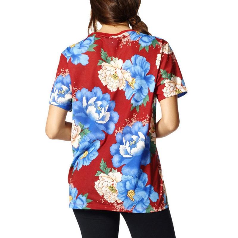 Chita Oriental Bf Trefoil Femme Tee Shirt Rouge Adidas