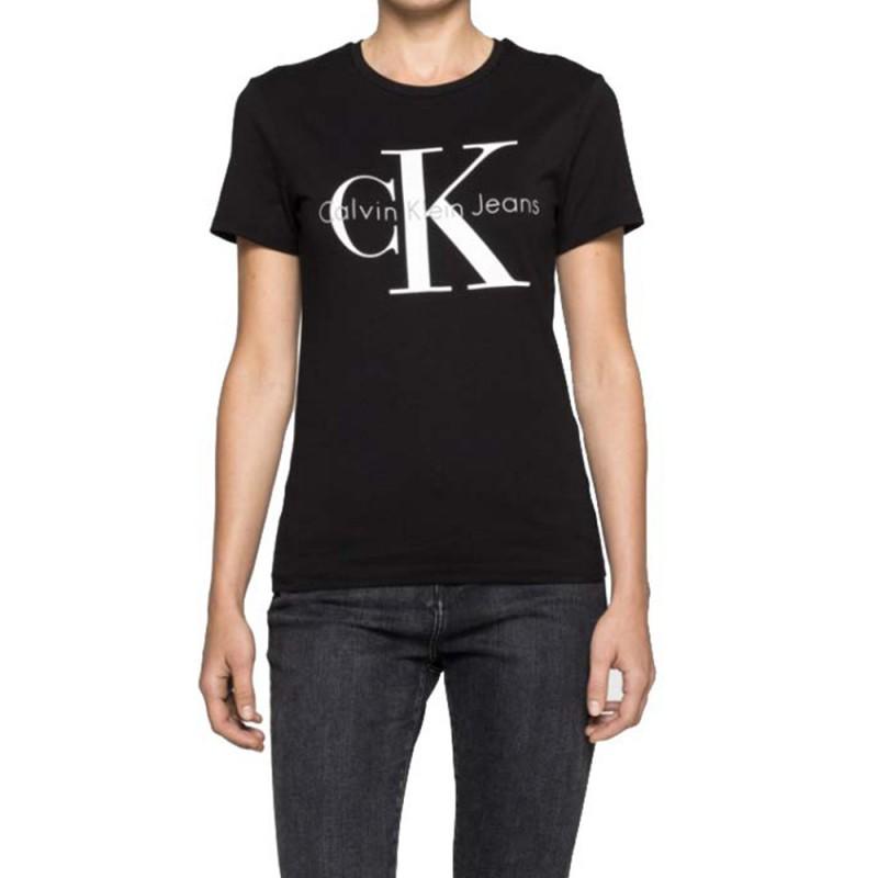 shrunken femme tee shirt noir calvin klein jeans. Black Bedroom Furniture Sets. Home Design Ideas