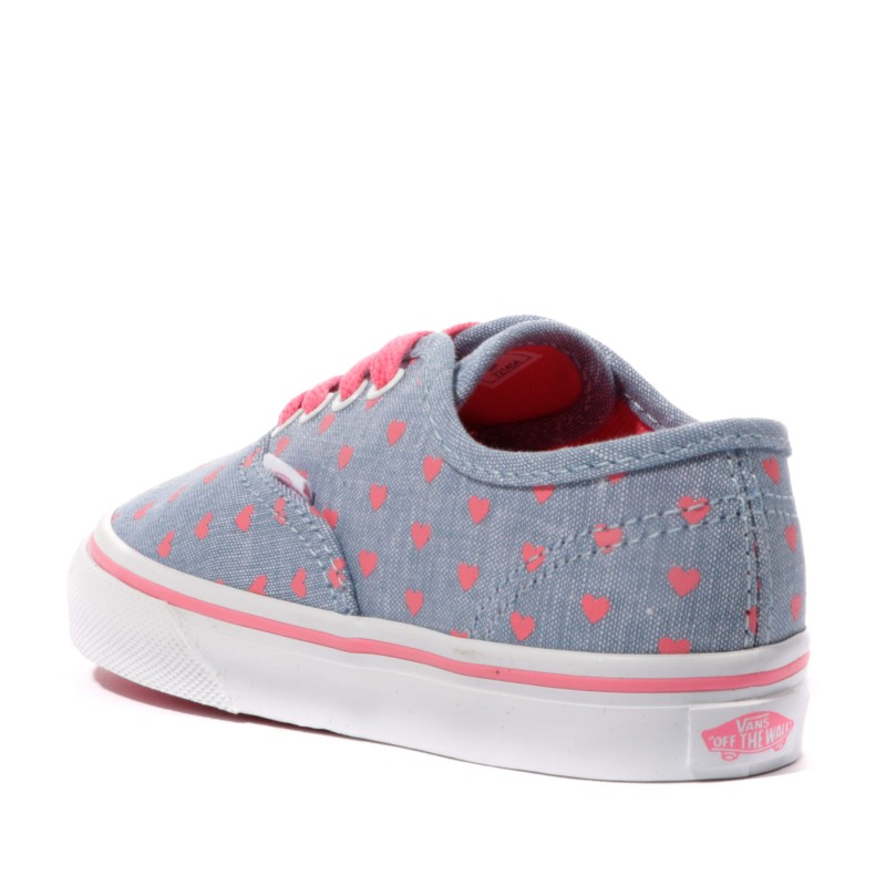 Chaussures Bleu Authentic Vans Hearts Bébé Wtxwf Chambray Fille W2DYIH9E