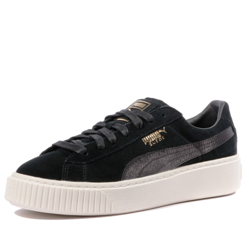 Suede Platform Mono Satin Femme Chaussures Noir Puma