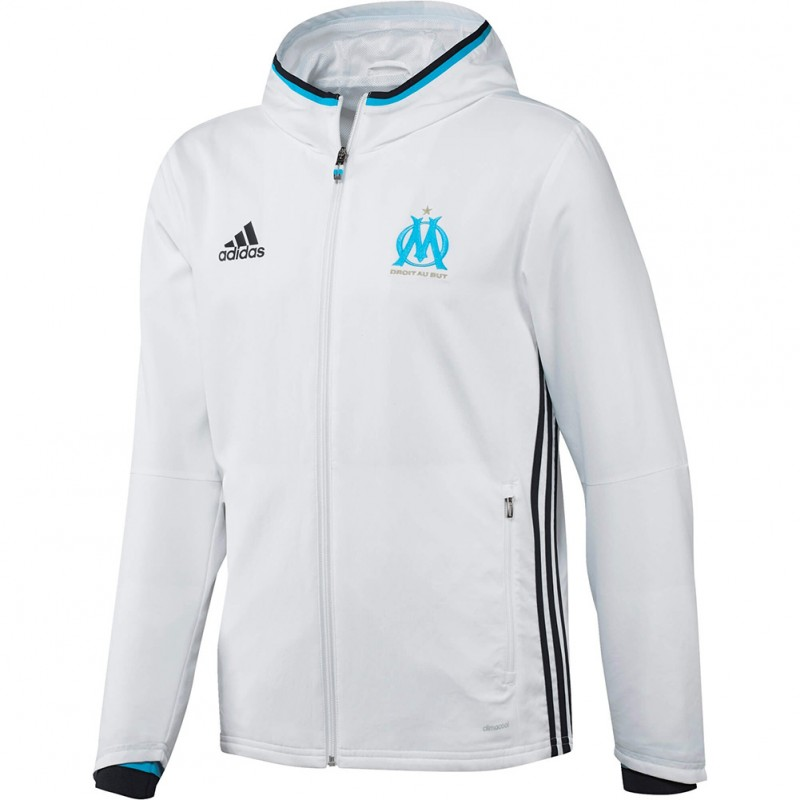 Olympique de Marseille Garçon Veste de présentation Football Blanc Adidas