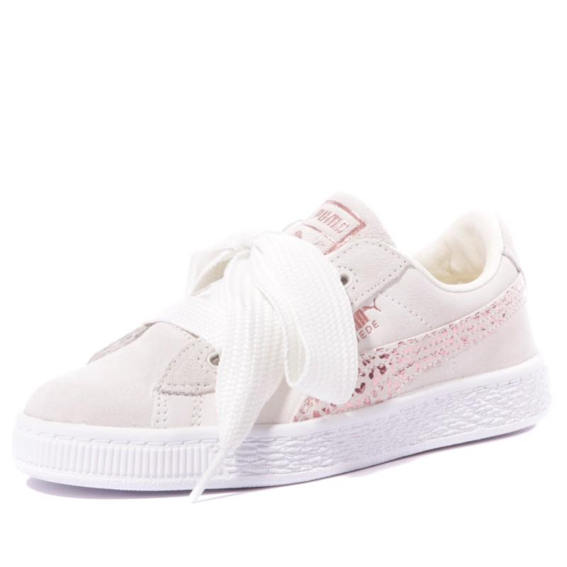 uk availability b083e 10819 Heart Suède Animal PS Fille Chaussures Beige Puma