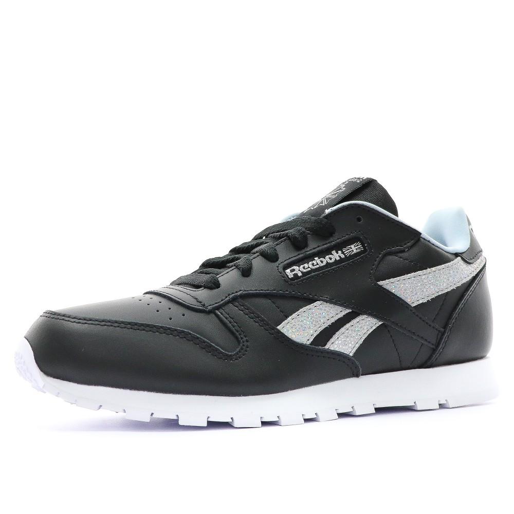 Détails sur Classic Leather Fille Chaussures Noir Reebok Noir