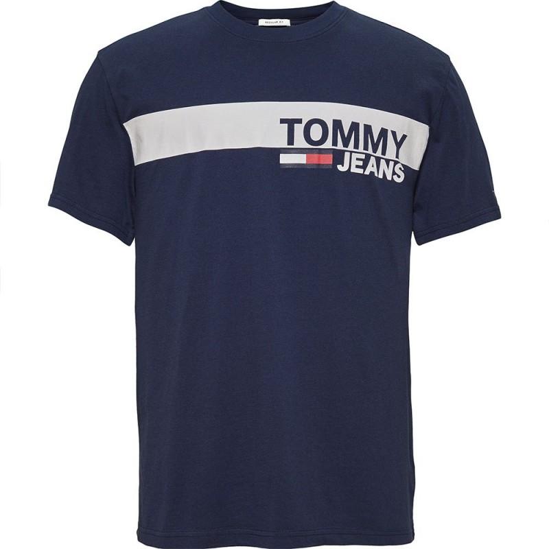 T shirt bleu foncé Homme Tommy Hilfiger pas cher | Espace
