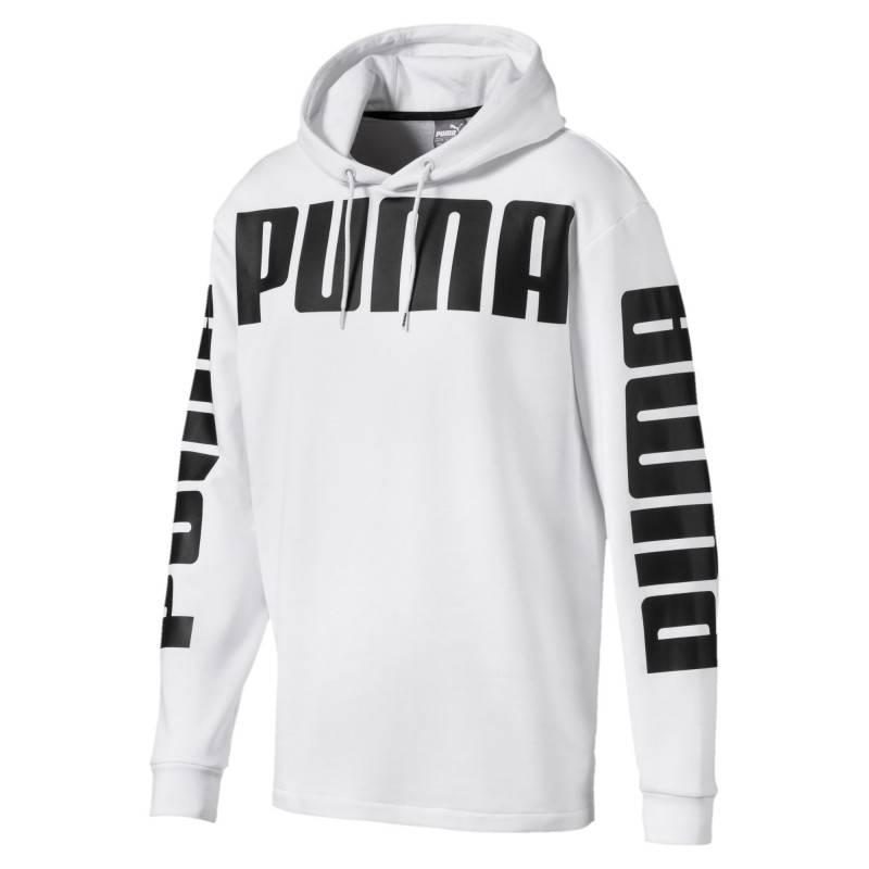 Sweat à capuche blanc Homme Puma pas cher