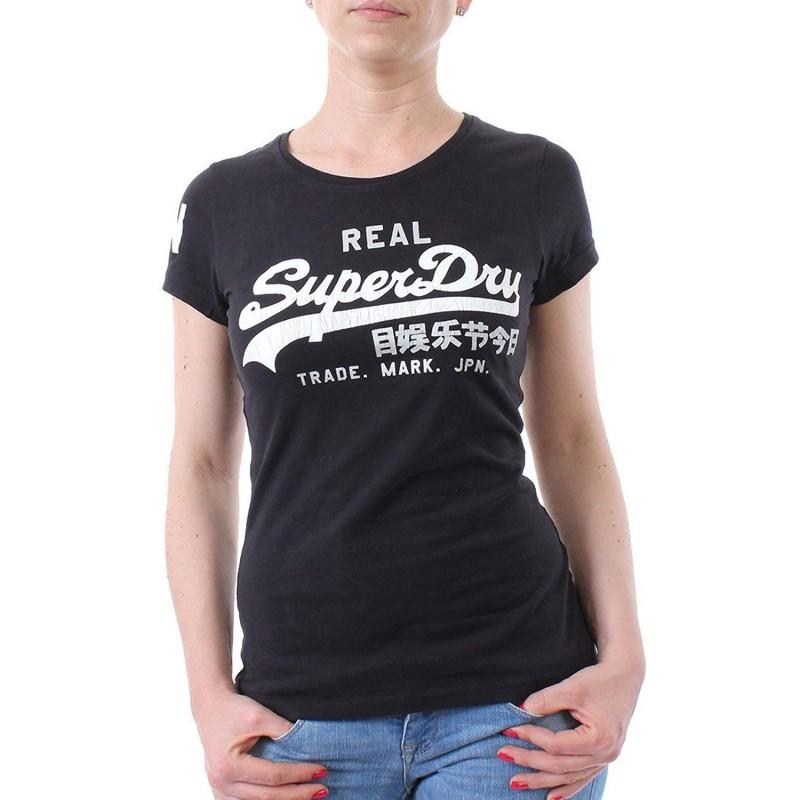 Tee shirt noir femme Superdry pas cher | Espace des Marques