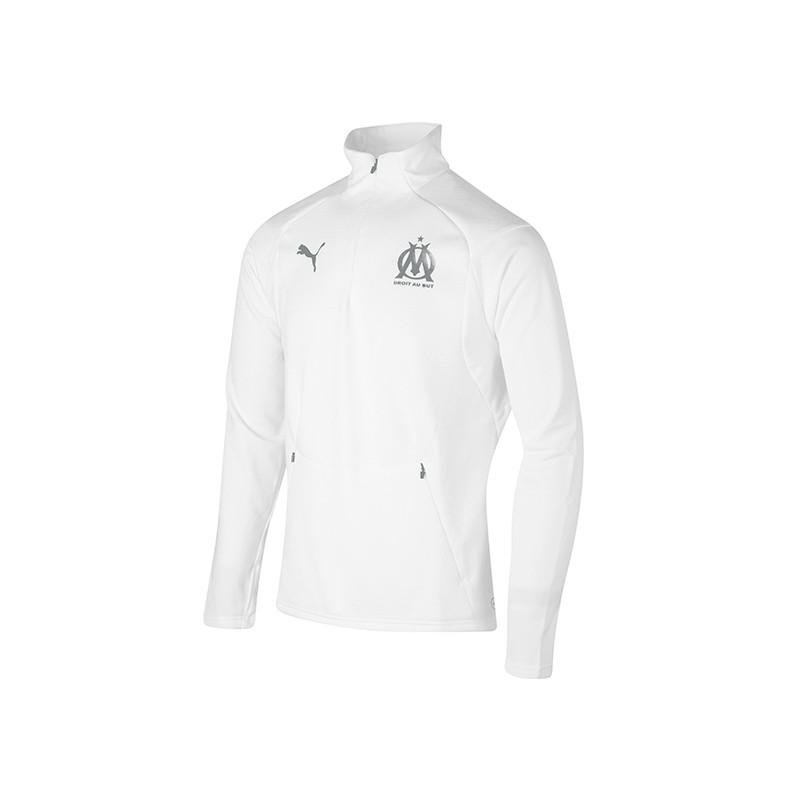Olympique de Marseille Sweat 14 zip blanc pas cher | Espace des Marques