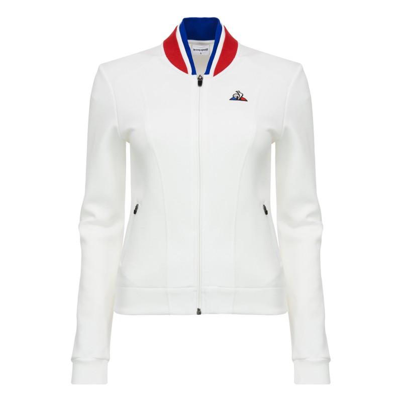 Sweat zippé blanc femme Le Coq Sportif pas