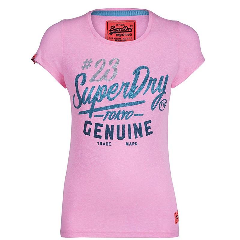 Tee-shirt Rose Femme Superdry Snowy