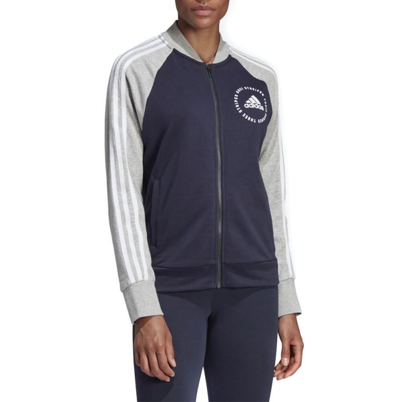 Veste bomber femme bleu marine Adidas pas cher | Espace des Marques