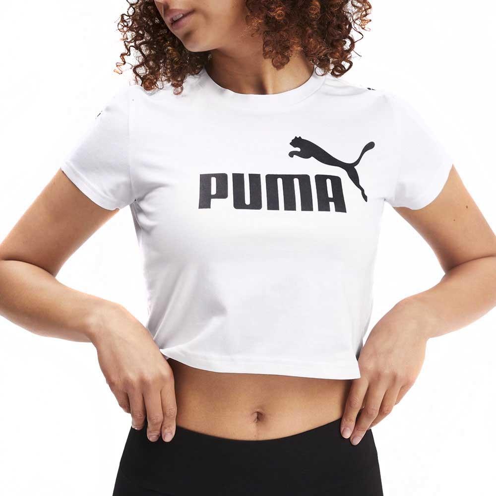 Crop top blanc femme Puma Amplified logo pas cher | Espace des Marques