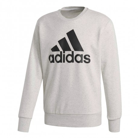 Sweat blanc chiné homme Adidas Crew