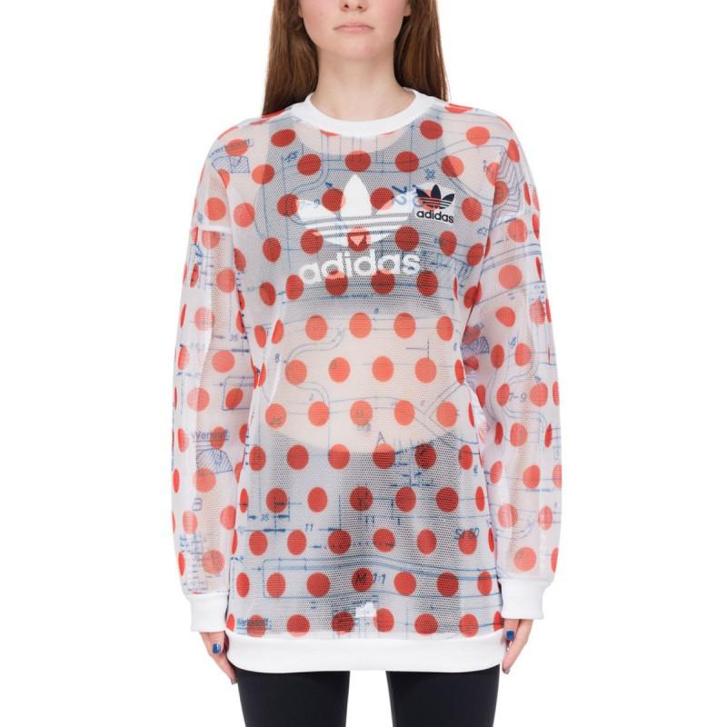 Sweat oversized rouge femme Adidas pas cher | Espace des Marques