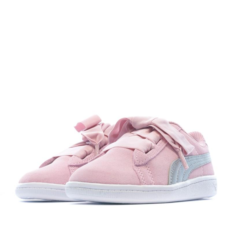 Baskets rose fille Puma Vikky Ribbon pas cher | Espace des Marques