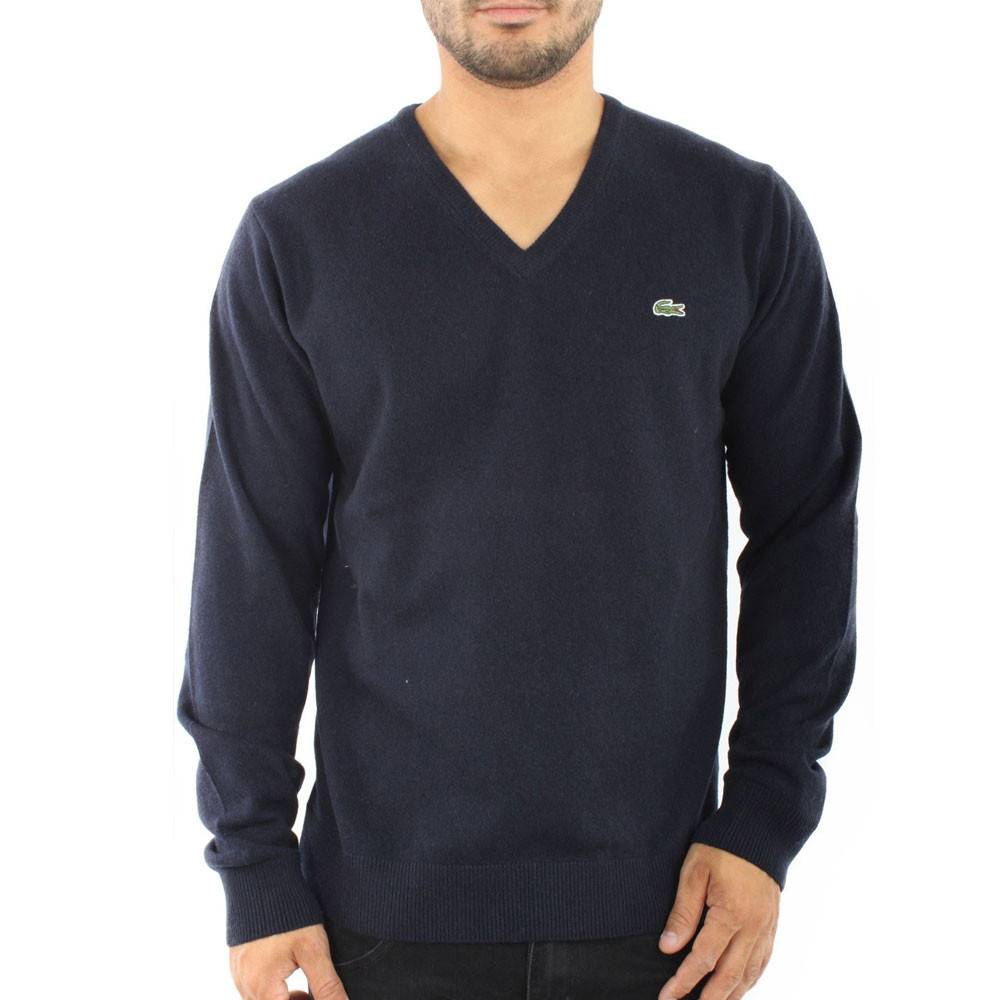 Pull Col V Marine Homme Lacoste Déstockage