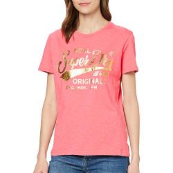 T-Shirt Rose Femme Superdry TEXT INFILL