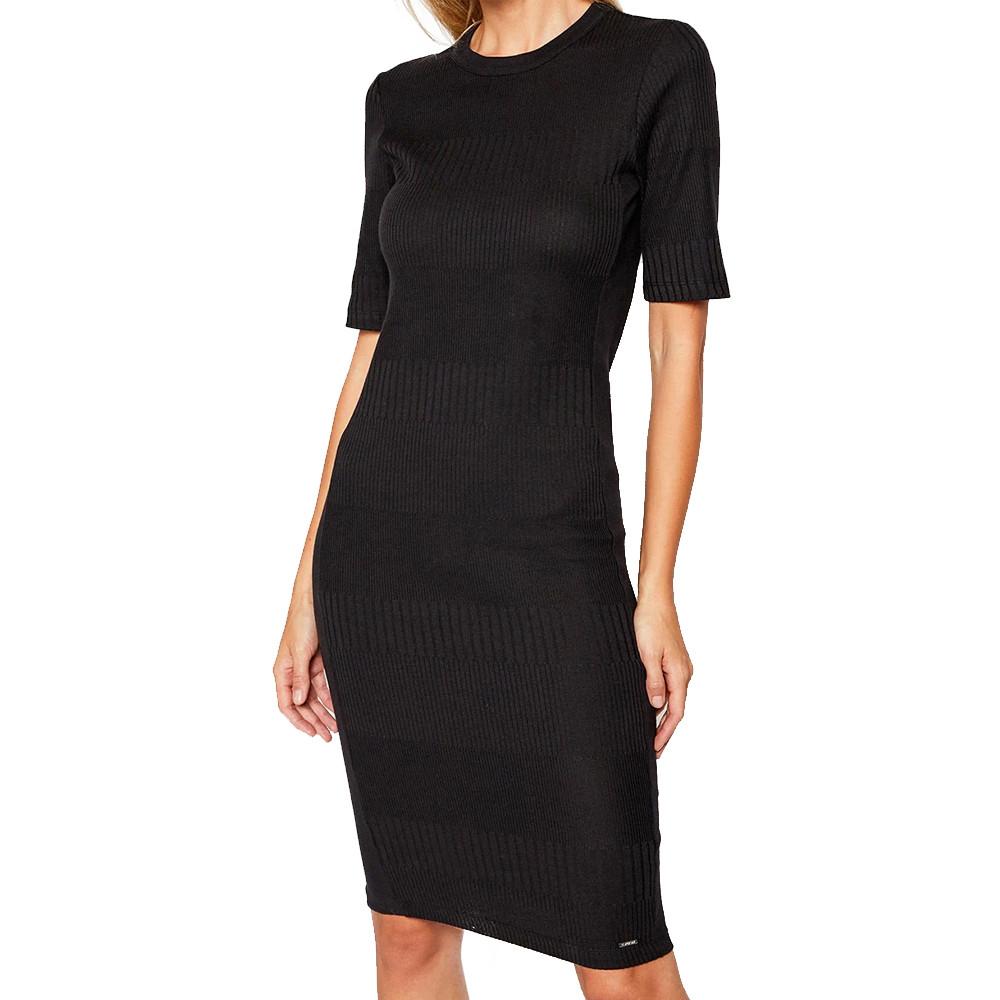 Robe en tricot noir femme Superdry NYC Multi Rib