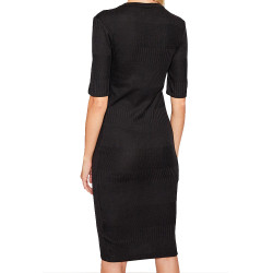 Robe en tricot noir femme Superdry NYC Multi Rib pas cher