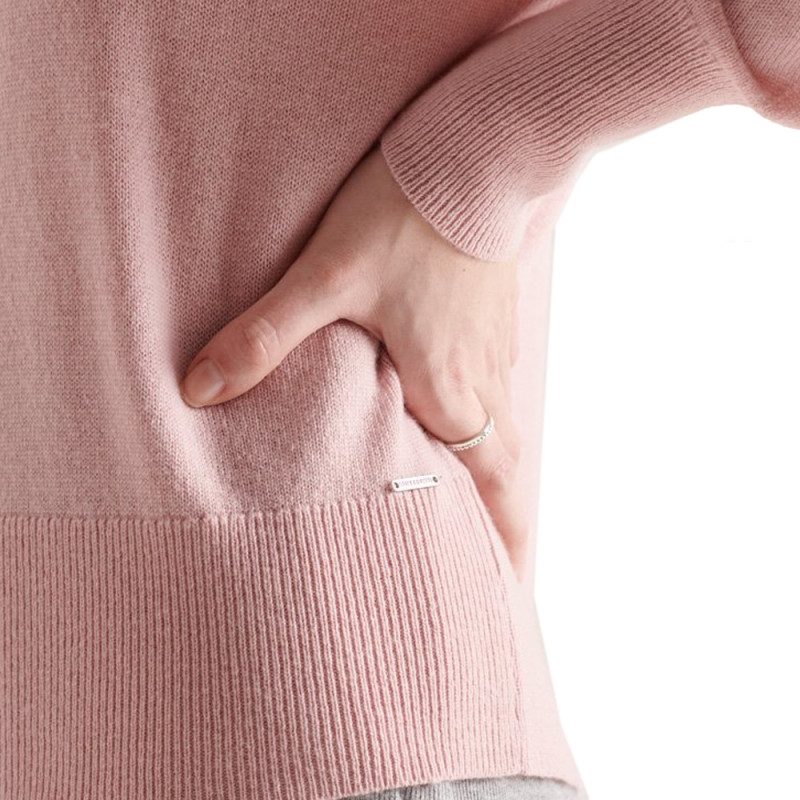 Pull rose femme Superdry Wool Cashmere Crew pas cher
