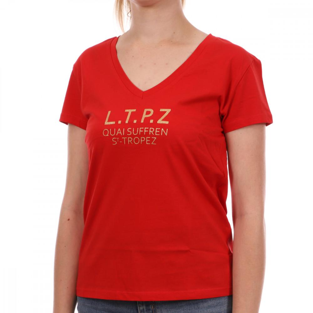 T-shirt rouge femme Les Tropéziennes Trèfle