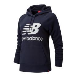 Sweat marine femme New Balance WT91523 Essential Pull Hoodie