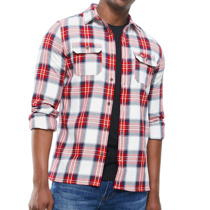 Chemise Blanche/Rouge Homme Superdry Classic