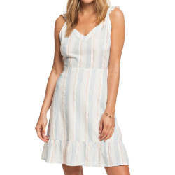 Robe à rayures Blanche Femme Roxy Sunday With You
