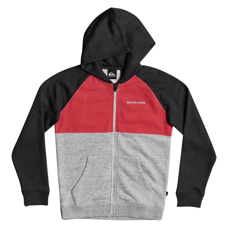 Sweat à capuche gris/rouge/noir enfant Quiksilver Easy Day Zip