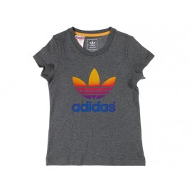 J FADING TEE GRI - Tee shirt Fille Adidas