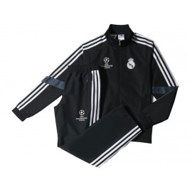 REAL EU PR SUIT Y BLK - Survêtement Football Real Madrid Garçon Adidas