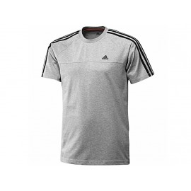 ESS 3S CREW TEE GRI - Tee Shirt Entrainement Homme Adidas