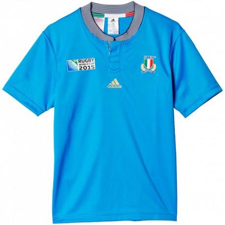 YB RWC I H JSY BLE - Maillot Rugby Italie Garçon Adidas
