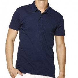 POLO LOANEL MEN MC SLUB NAV - Polo Homme Biaggio Jeans