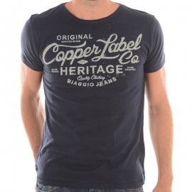 TEE FEREOL ML MEN NAV - Tee-shirt Homme Biaggio Jeans