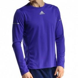 RUN LS TEE M BLE - Tee shirt Running Homme Adidas