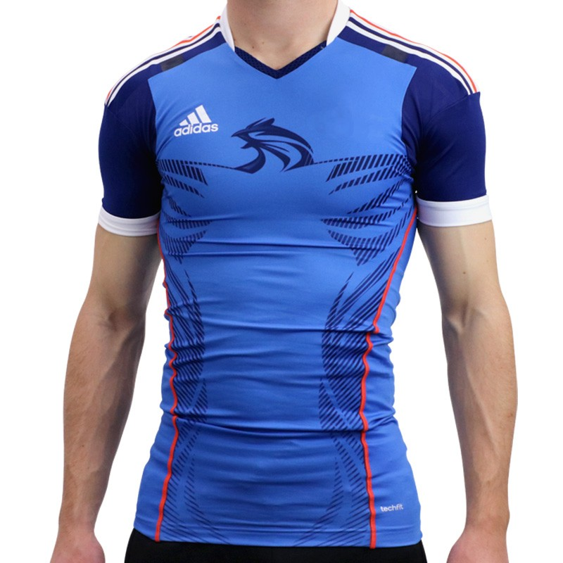 HB FK TECHFIT M BLE Maillot Handball France Homme Adidas Maillo
