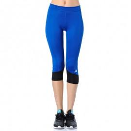 Collant 3/4 Bleu Techfit Running Femme Adidas