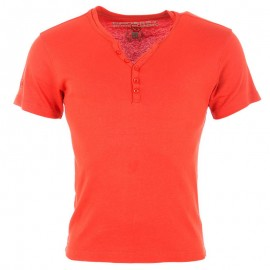 Tee Shirt col boutonné OPEN rouge Homme Crossby