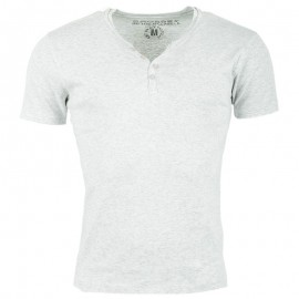 Tee Shirt col boutonné OPEN chiné gris clair Homme Crossby