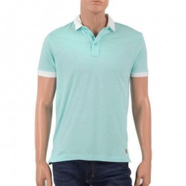Tee shirt col polo MEMO vert Homme Crossby