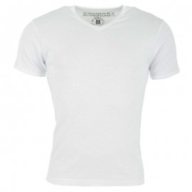 Tee Shirt col V FIT blanc Homme Crossby