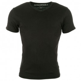 Tee Shirt col V FIT noir Homme Crossby