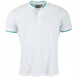 Polo col Mao blanc Homme Crossby