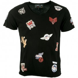 Tee Shirt Noir Patch Homme Crossby