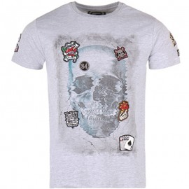 Tee Shirt CROWN gris chiné Homme Crossby